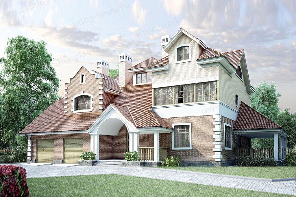 Проект жилой дом #35-10 материал - кирпич, стиль американский