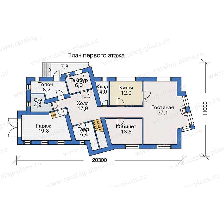 План 1-этажа проекта 35-53