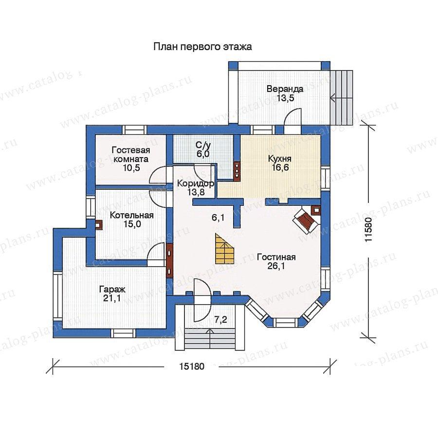 План 1-этажа проекта 35-25