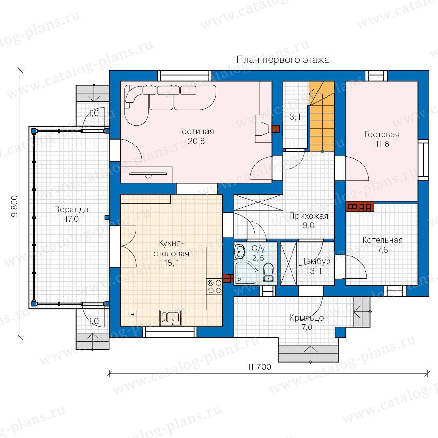 План 1-этажа проекта 60-22