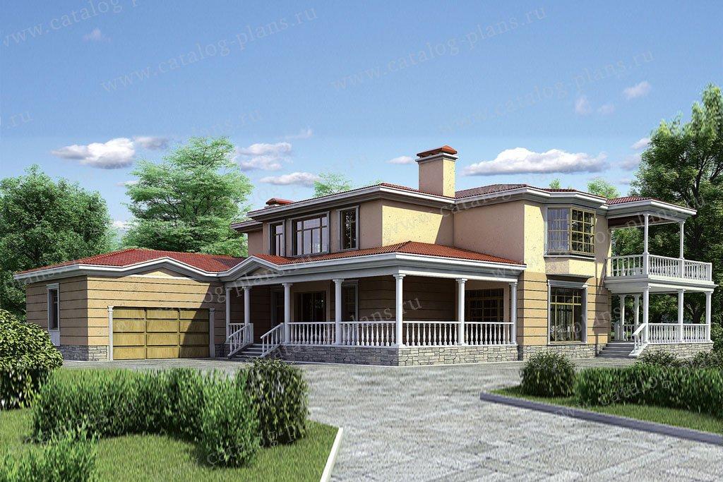 Проект жилой дом #35-23 материал - кирпич, стиль средиземный