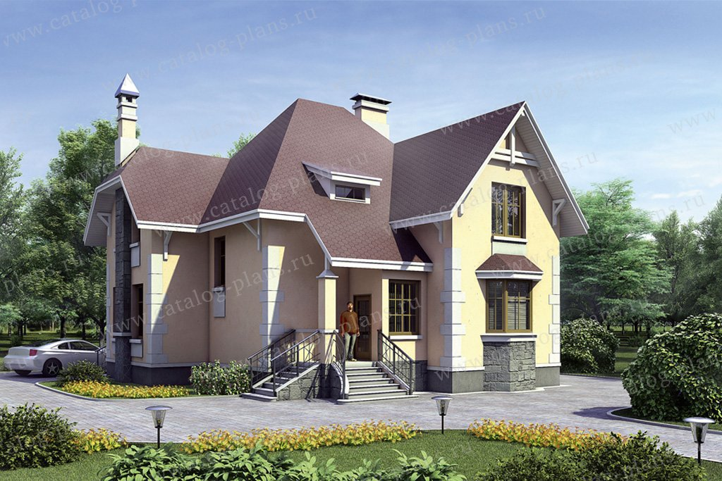 Проект жилой дом #35-31 материал - кирпич, стиль европейский