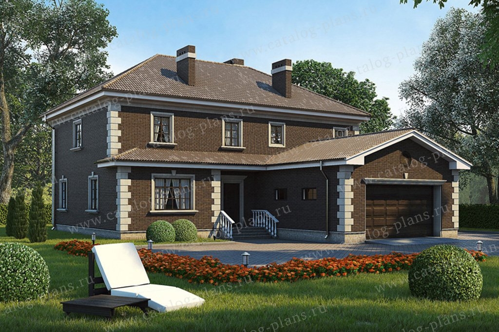 Проект жилой дом #35-22 материал - кирпич, стиль английский