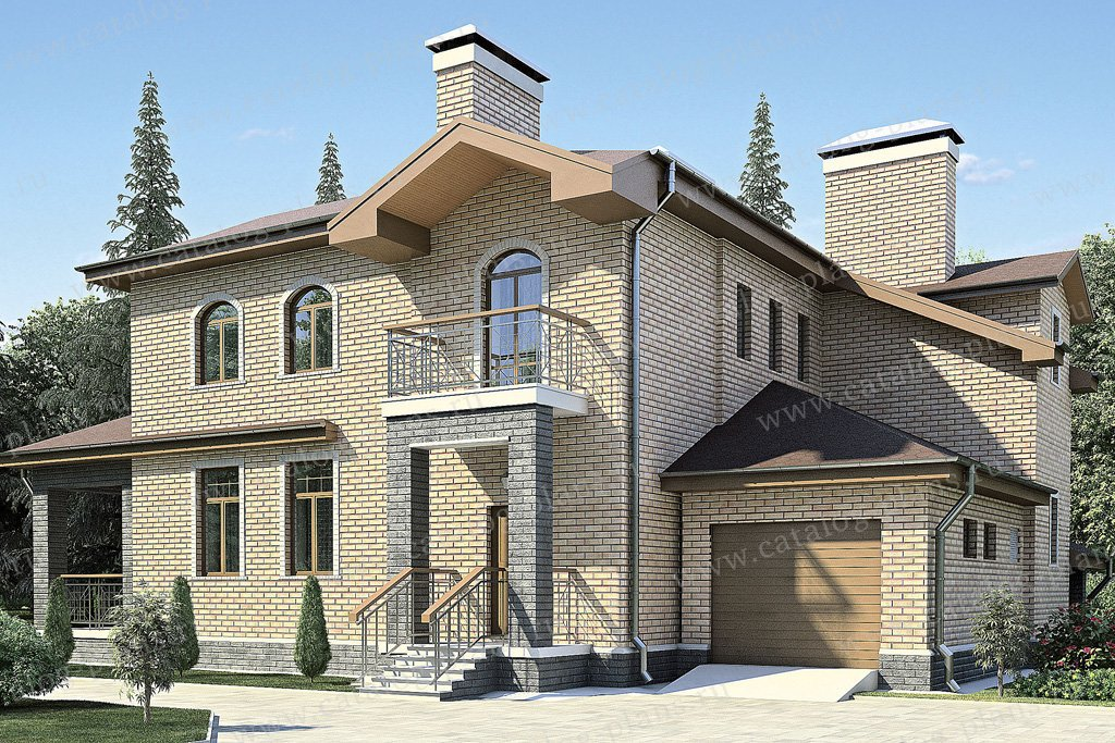 Проект жилой дом #35-88 материал - кирпич, стиль современный