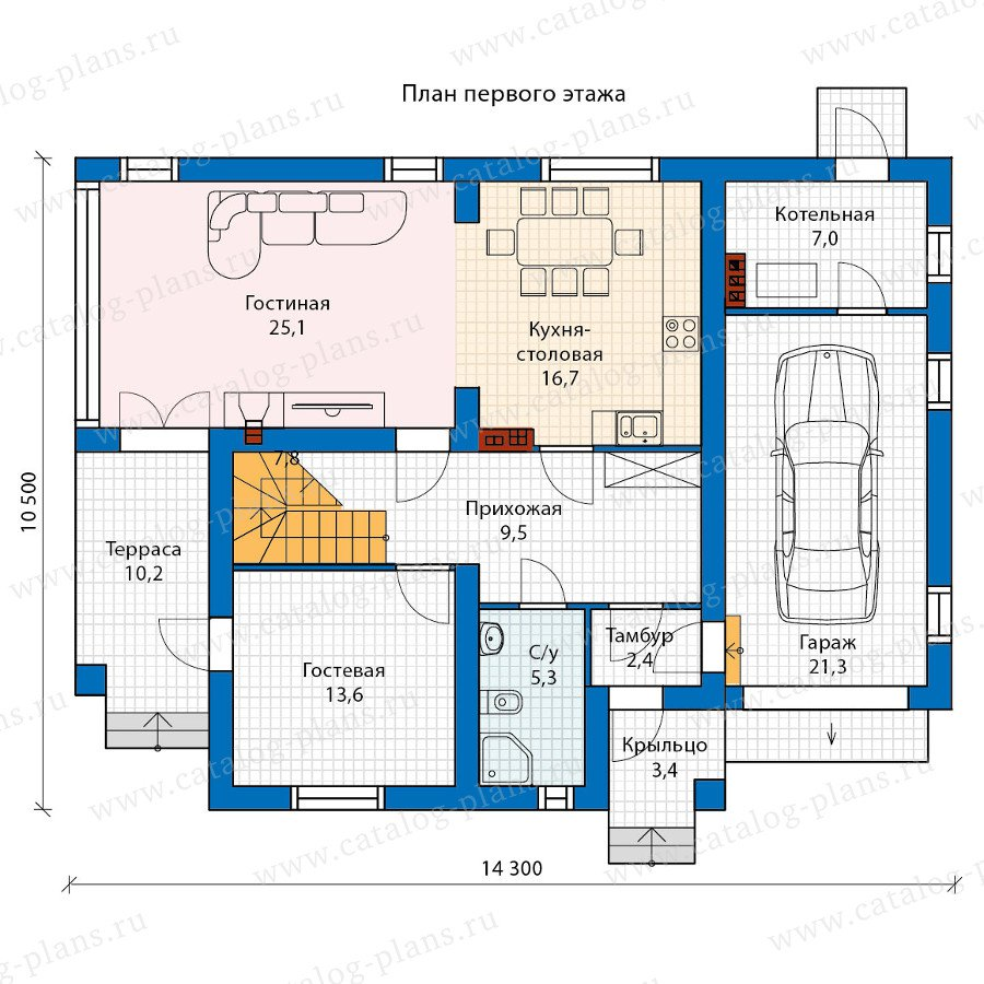 План 1-этажа проекта 60-24