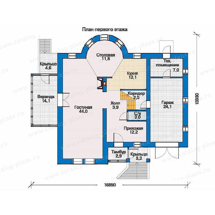 План 1-этажа проекта 34-23