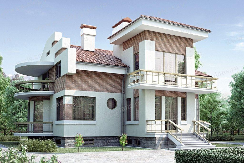 Проект жилой дом #34-89 материал - кирпич, стиль райт
