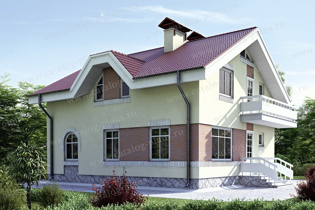 Проект жилой дом #34-59 материал - кирпич, стиль европейский