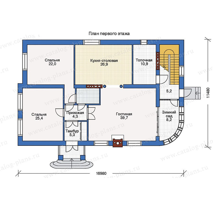 План 1-этажа проекта 34-43