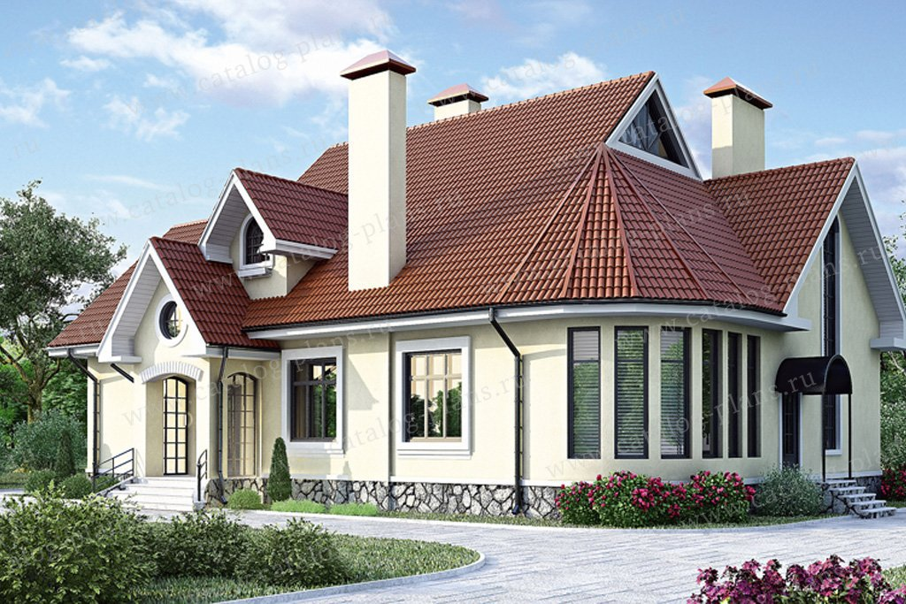 Проект жилой дом #34-43 материал - кирпич, стиль американский