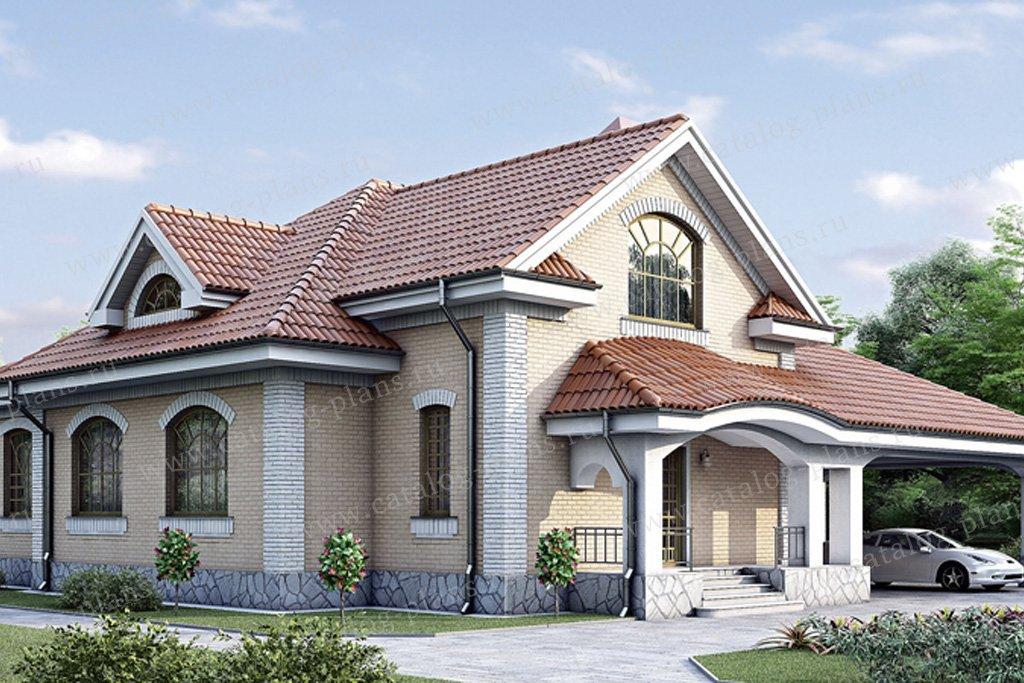 Проект жилой дом #34-66 материал - кирпич, стиль средиземный