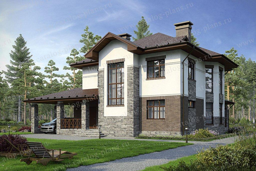 Проект жилой дом #34-53 материал - кирпич, стиль европейский
