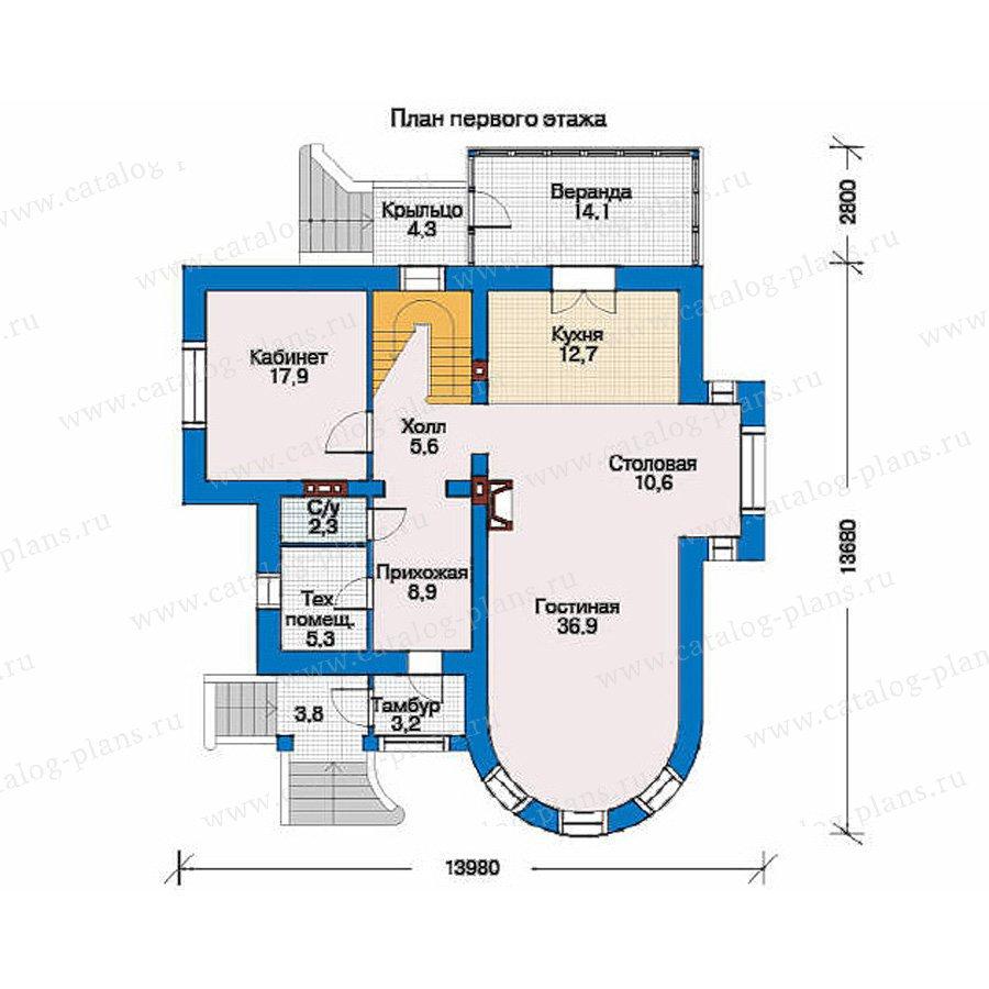 План 1-этажа проекта 34-45