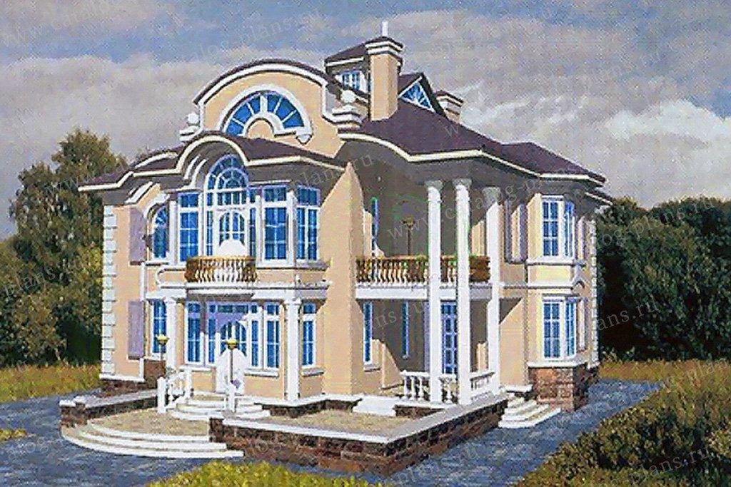 Проект жилой дом #34-00 материал - кирпич, стиль классический