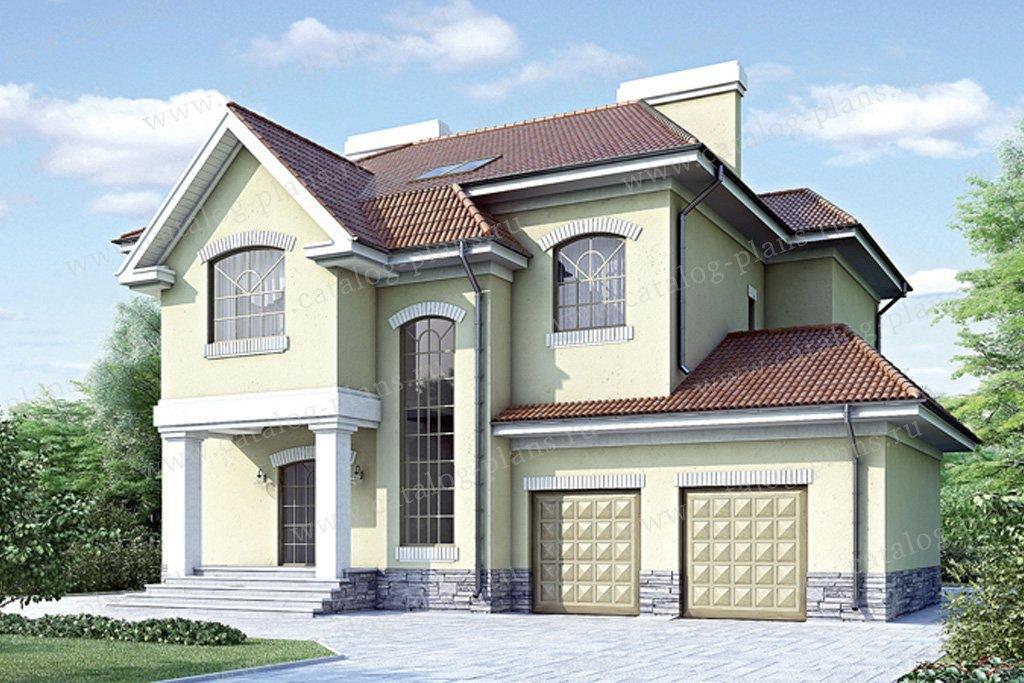 Проект жилой дом #34-73 материал - кирпич, стиль американский