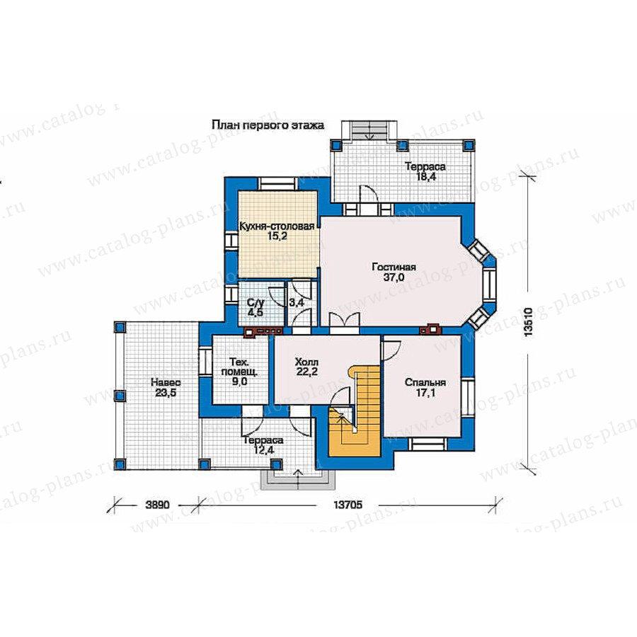 План 1-этажа проекта 34-53