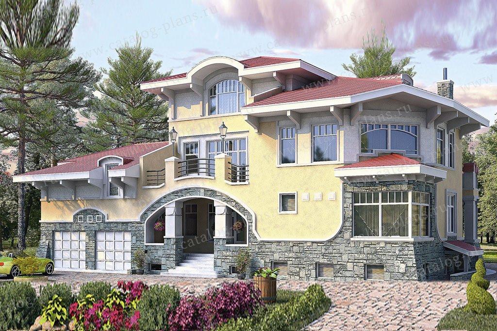 Проект жилой дом #33-76 материал - кирпич, стиль средиземный