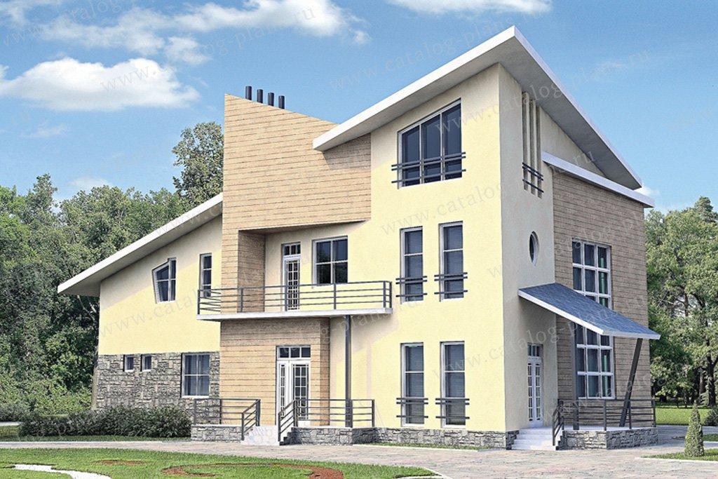 Проект жилой дом #33-92 материал - кирпич, стиль хай-тек