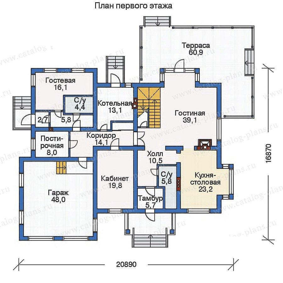 План 1-этажа проекта 33-45