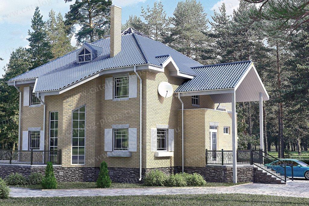 Проект жилой дом #33-87 материал - кирпич, стиль средиземный