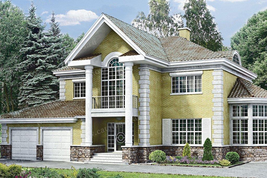 Проект жилой дом #33-11 материал - кирпич, стиль средиземный