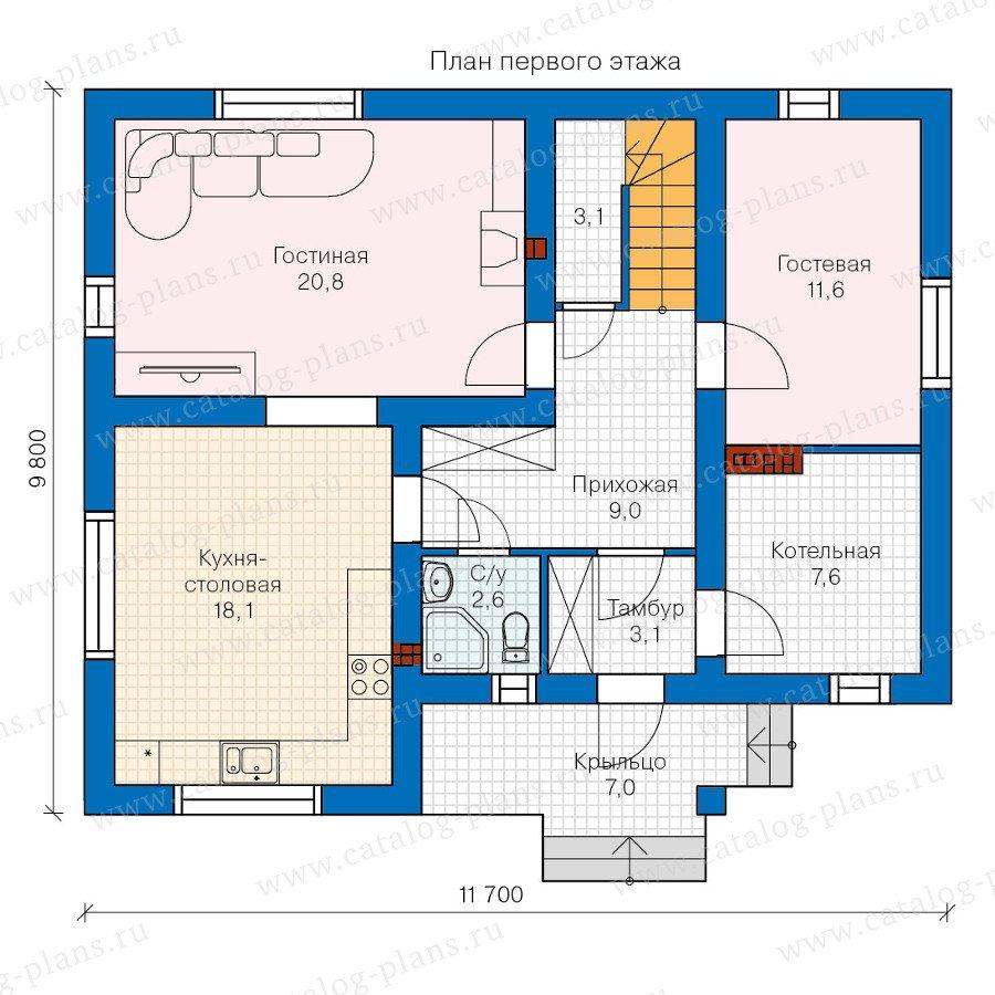 План 1-этажа проекта 60-21