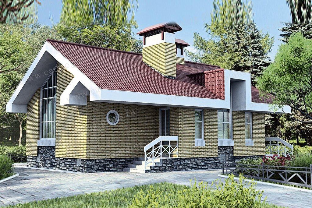 Проект жилой дом #33-71 материал - кирпич, стиль современный