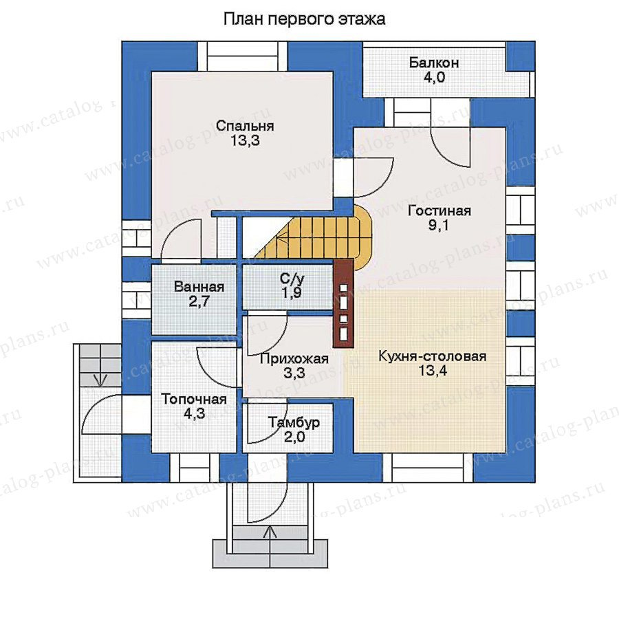План 1-этажа проекта 33-70