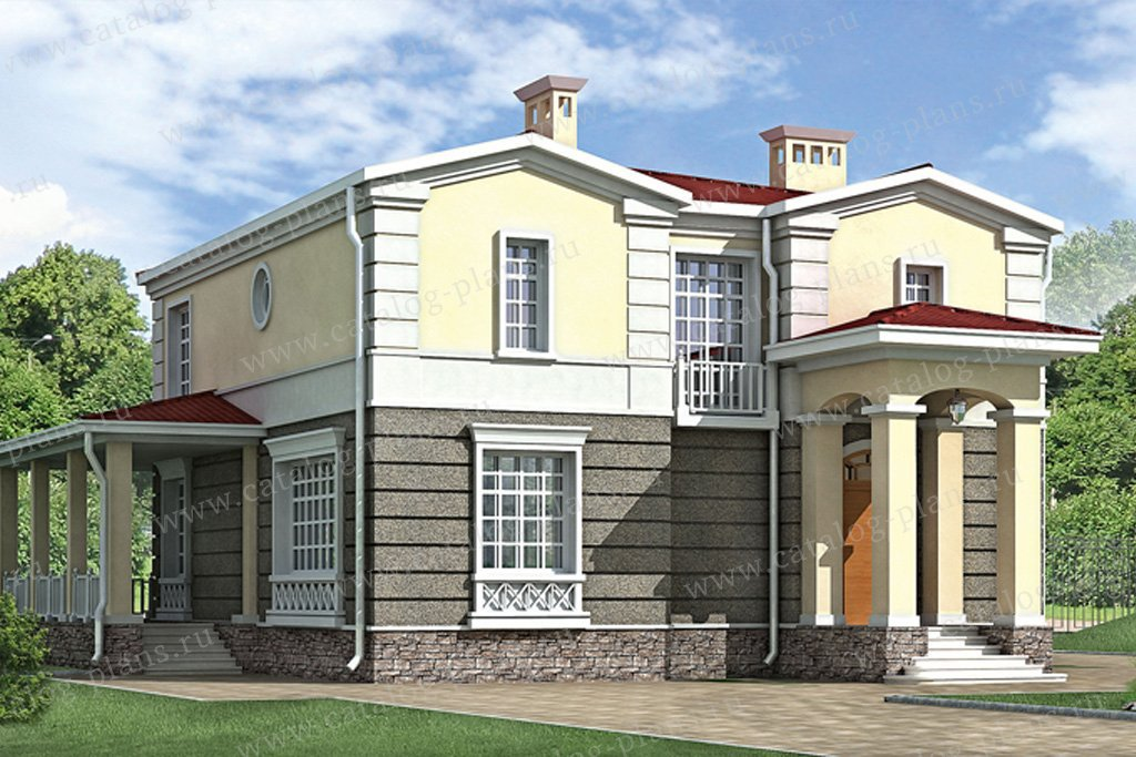 Проект жилой дом #33-28 материал - кирпич, стиль классический