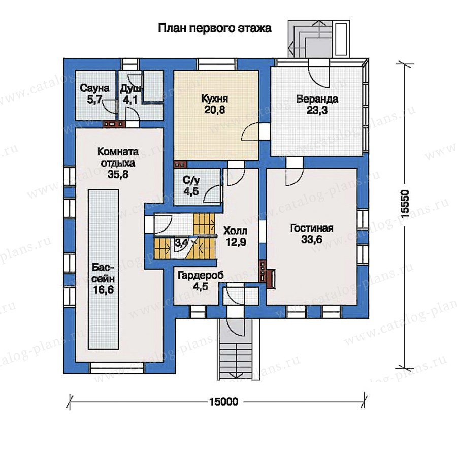 План 1-этажа проекта 33-55