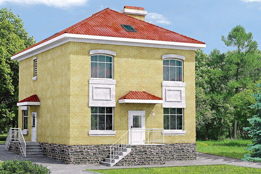 Проект жилой дом #33-17 материал - кирпич, стиль европейский