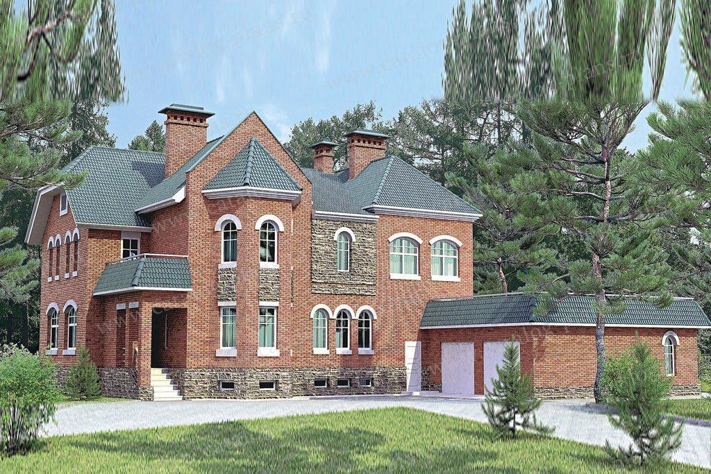 Проект жилой дом #33-48 материал - кирпич, стиль средневековый