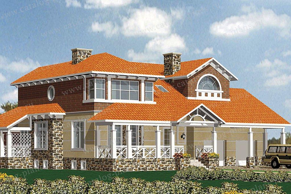 Проект жилой дом #30-56 материал - кирпич, стиль американский
