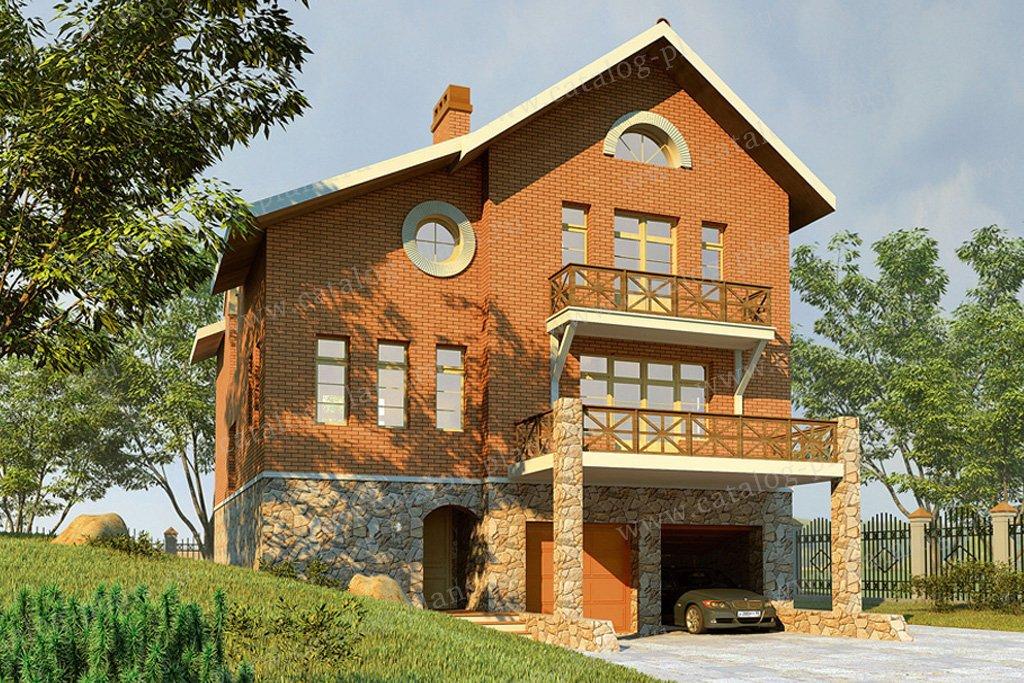 Проект жилой дом #30-55 материал - кирпич, стиль европейский