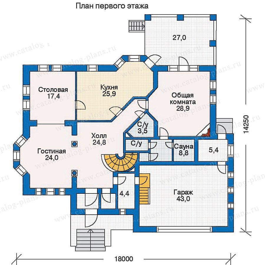 План 1-этажа проекта 30-60