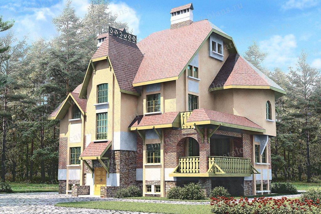 Проект жилой дом #30-35 материал - кирпич, стиль средневековый