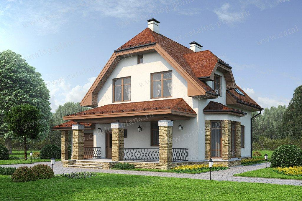 Проект жилой дом #60-12 материал - газобетон, стиль немецкий