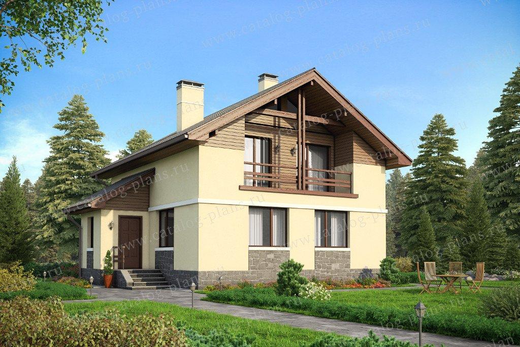 Проект жилой дом #59-94K материал - кирпич, стиль скандинавский