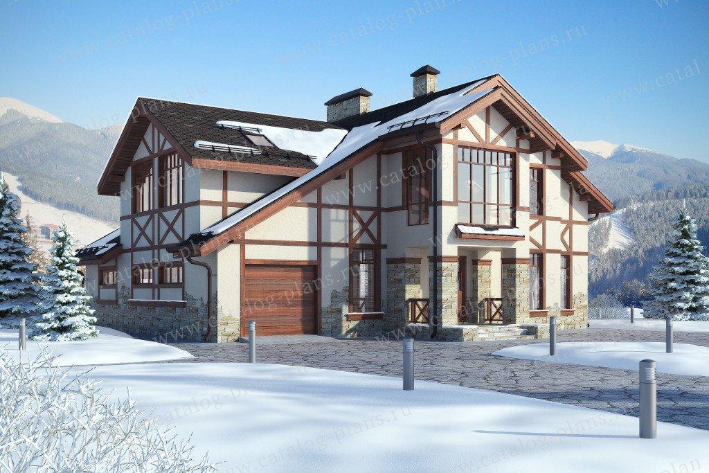 Проект жилой дом #60-14 материал - газобетон, стиль шале