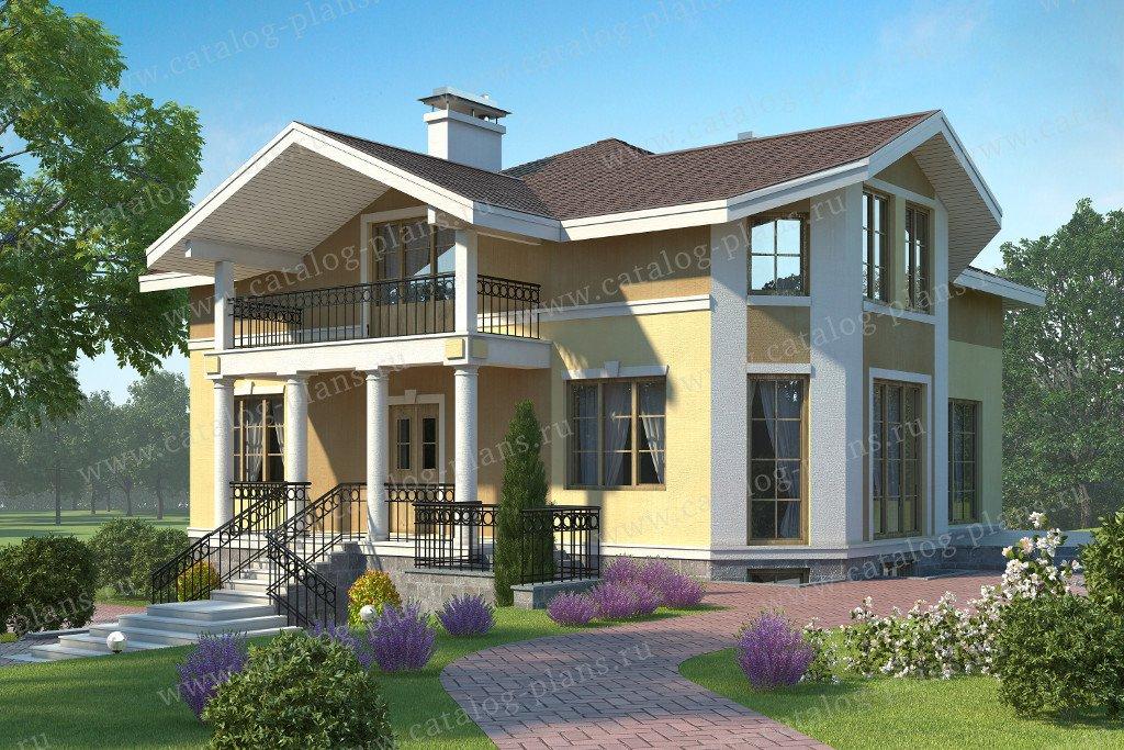 Проект жилой дом #60-13 материал - газобетон, стиль европейский