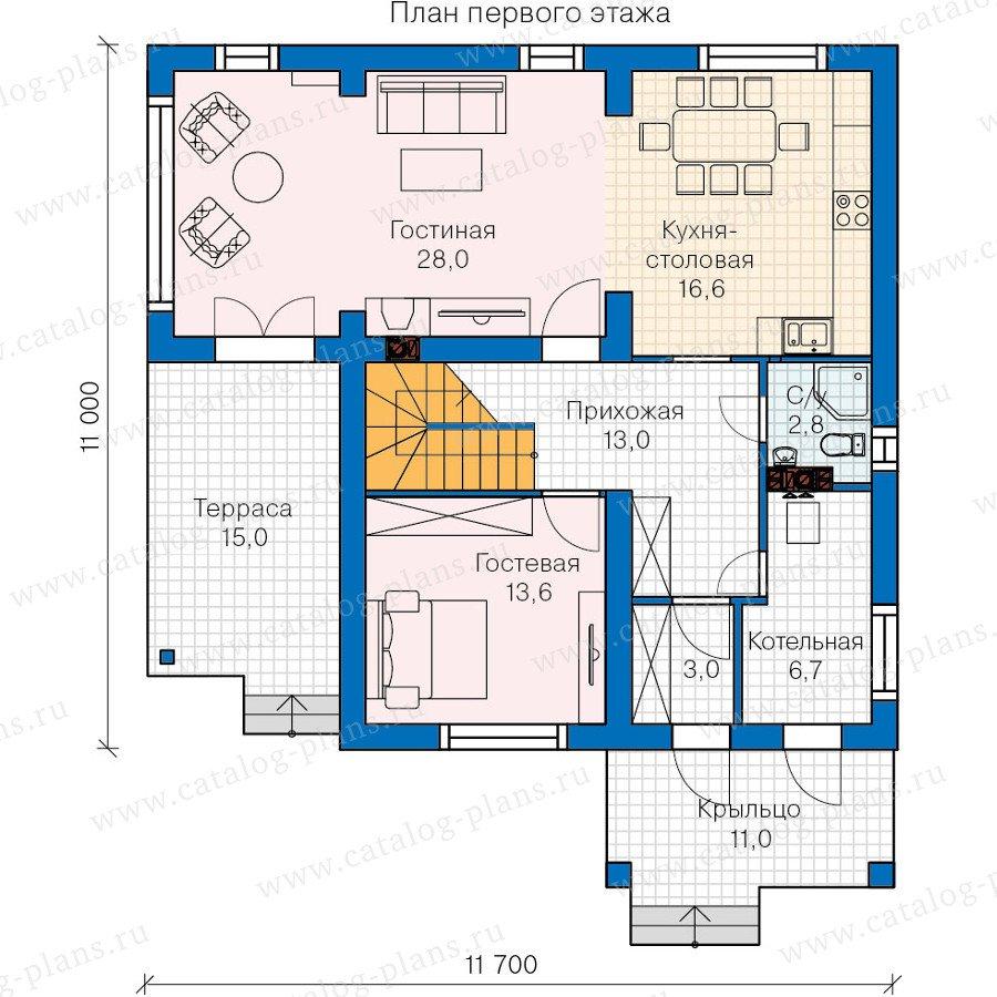 План 1-этажа проекта 60-19