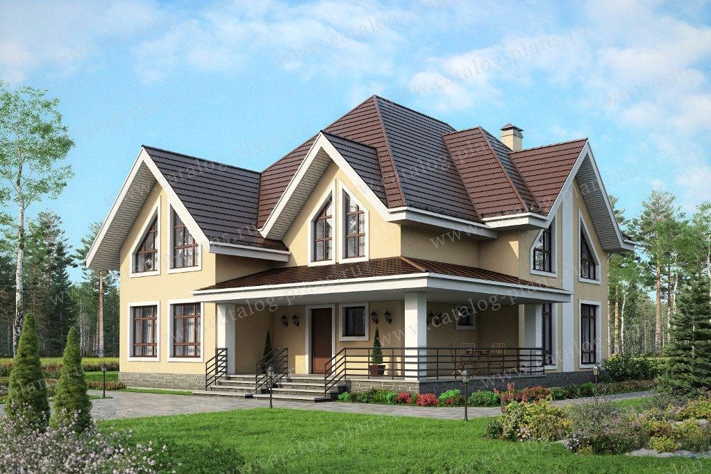Проект жилой дом #59-86K материал - кирпич, стиль европейский