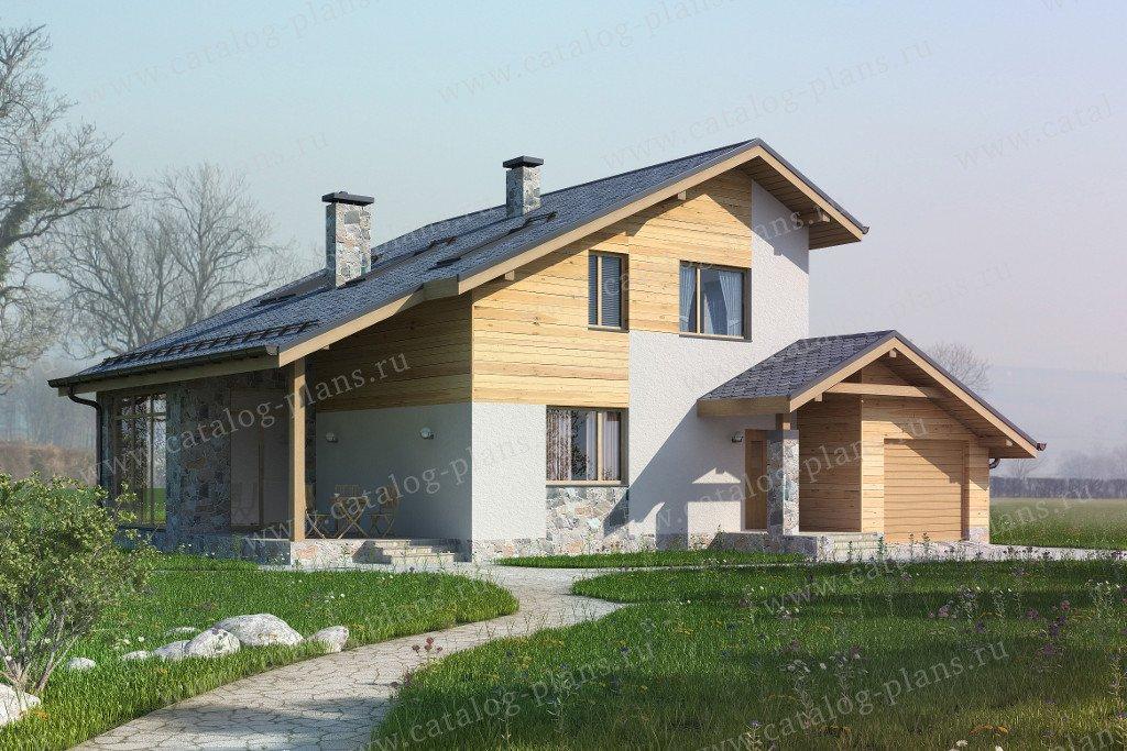 Проект жилой дом #60-20 материал - газобетон, стиль скандинавский