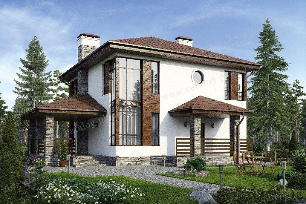 Проект жилой дом #59-79C материал - кирпич, стиль современный