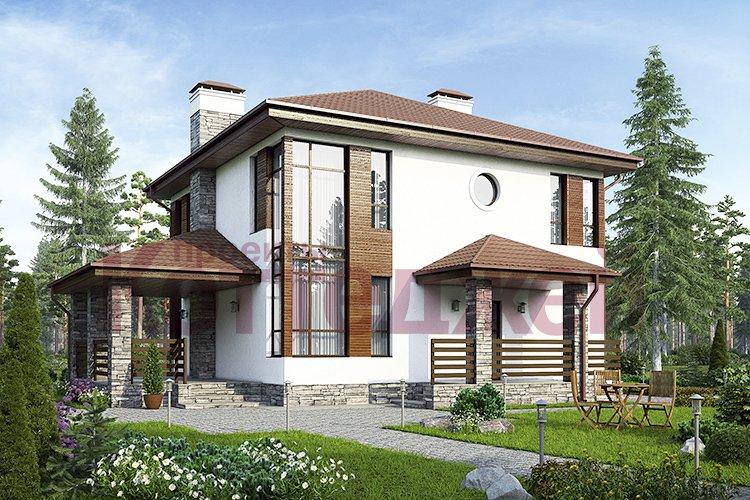 Проект жилой дом #59-79 материал - газобетон, стиль современный