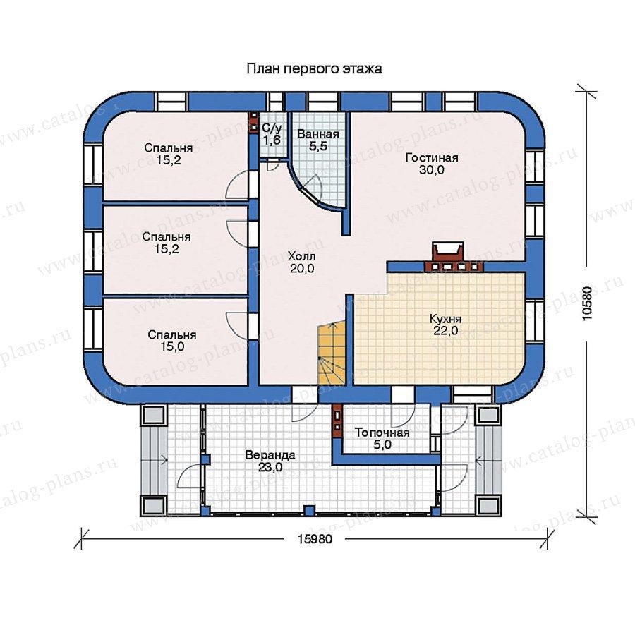 План 1-этажа проекта 32-28