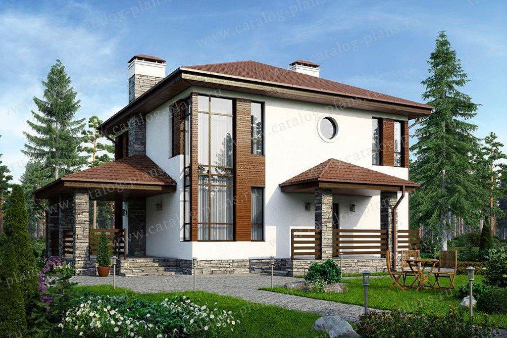 Проект жилой дом #59-79K материал - кирпич, стиль современный