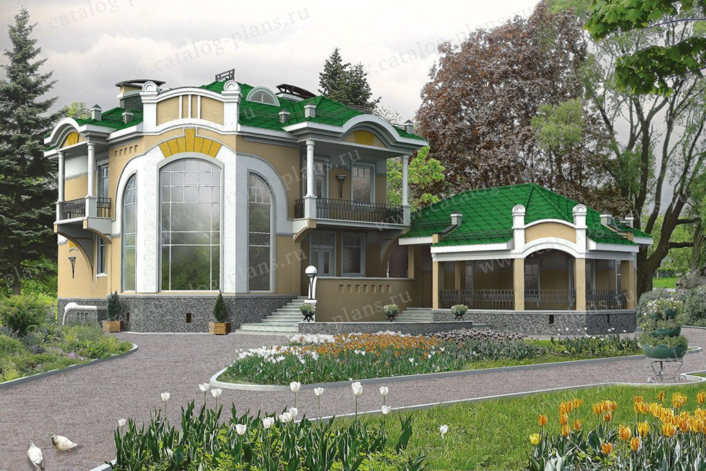 Проект жилой дом #32-77 материал - кирпич, стиль итальянский