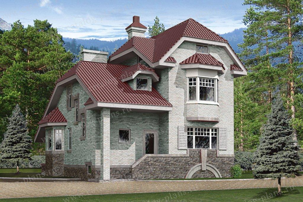 Проект жилой дом #32-70 материал - кирпич, стиль европейский