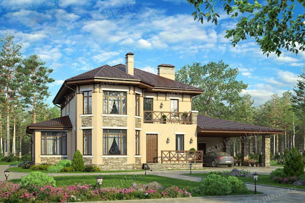 Проект жилой дом #57-01A материал - газобетон, стиль итальянский